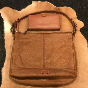 Fossil Pebbled Brown Leather Shoulder Bag w/wallet